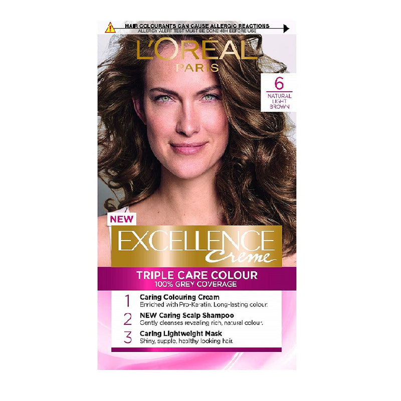 L'Oreal Excellence Natural Light Brown 6 <br> Pack size: 3 x 1 <br> Product code: 201790