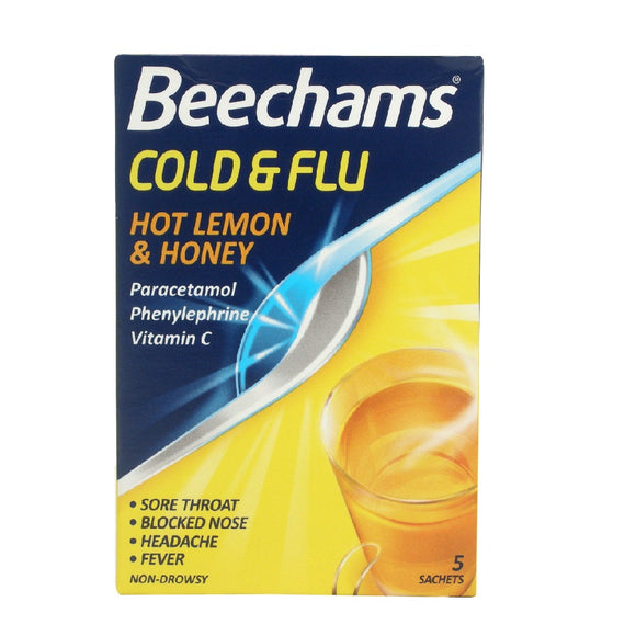 Beechams Cold&Flu Honey & Lemon 5S <br> Pack size: 6 x 5s <br> Product code: 191138