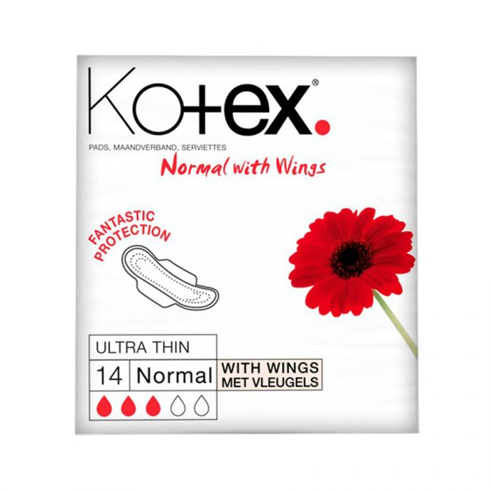 Kotex Ultra Normal + Wings 14'S <br> Pack size: 12 x 14s <br> Product code: 343902