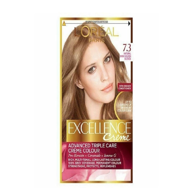 L'Oreal Excellence Dark Golden Blonde 7.3 <br> Pack size: 3 x 1 <br> Product code: 201760