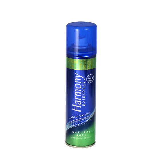 Harmony Hairspray 225M Blue Can Natural <br> Pack size: 6 x 225ml <br> Product code: 164807