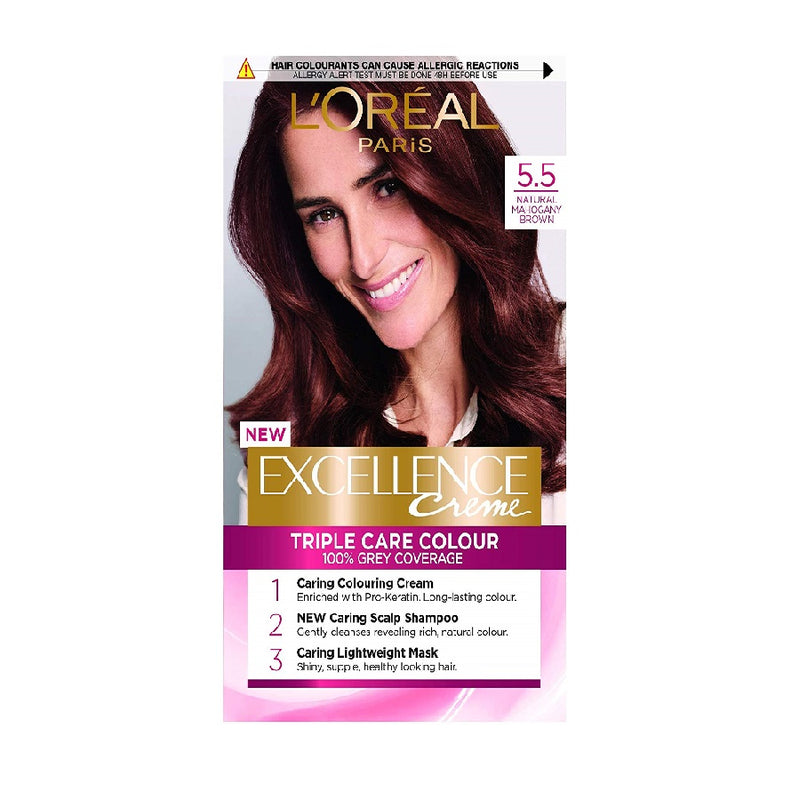 L'Oreal Excellence Mahogany Brown 5.5 <br> Pack size: 3 x 1 <br> Product code: 201880