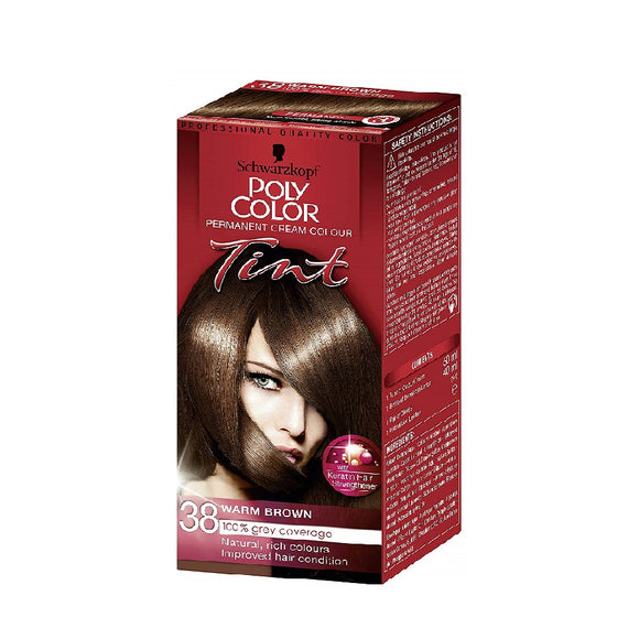 Schwarzkopf Poly Colour Tint 38 Med Warm Brown <br> Pack size: 3 x 1 <br> Product code: 204330