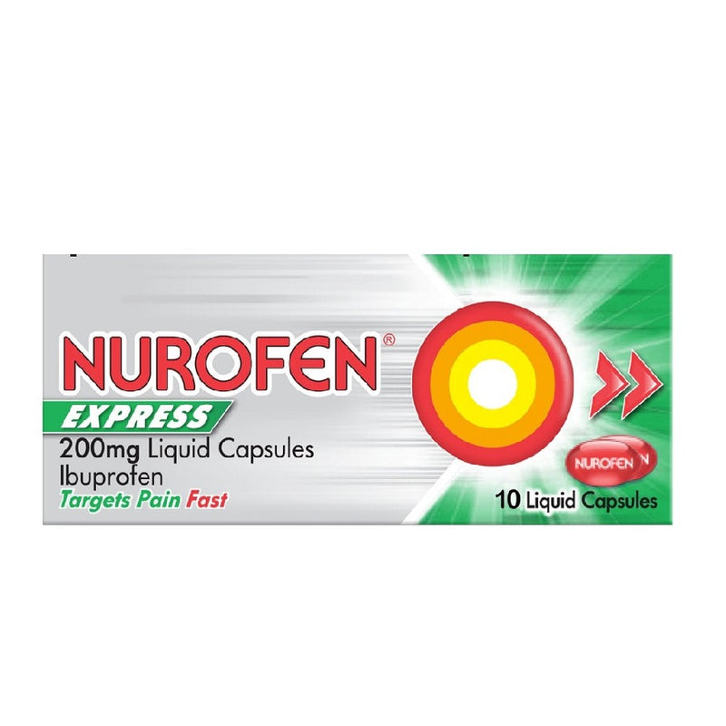 Nurofen Express Liq Caps 10'S <br> Pack size: 6 x 10s <br> Product code: 174821