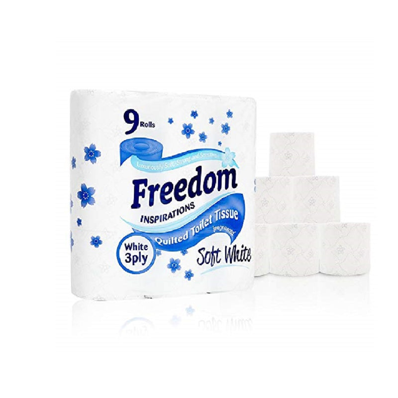 Freedom Toilet Tissue 9'S White <br> Pack size: 5 x 9s <br> Product code: 423601