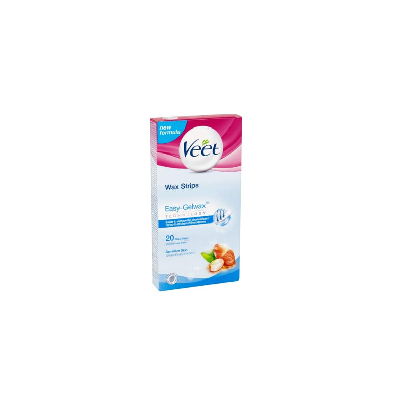 Veet Body & Legs Wax Strips Sensitive 20s <br> Pack size: 6 x 20s <br> Product code: 164702