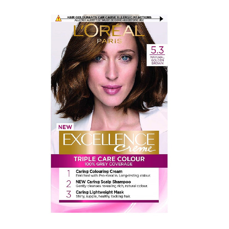 L'Oreal Excellence Golden Brown 5.3 <br> Pack size: 3 x 1 <br> Product code: 201810
