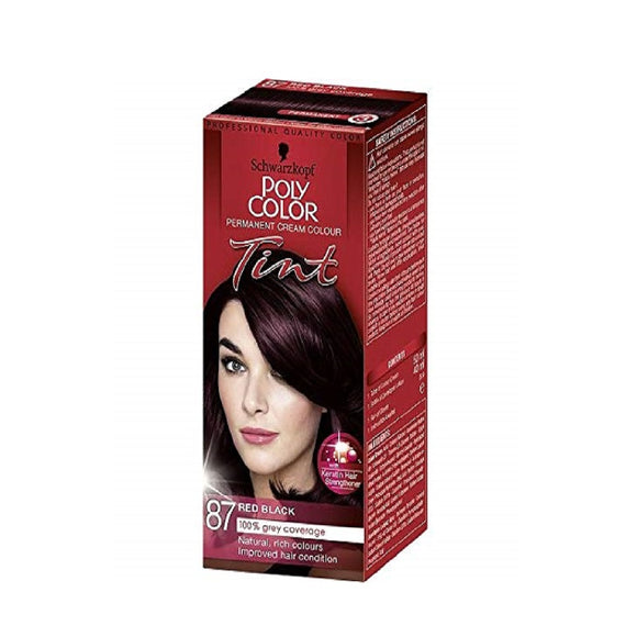Schwarzkopf Poly Colour Tint 87 Red Black <br> Pack size: 3 x 1 <br> Product code: 204390