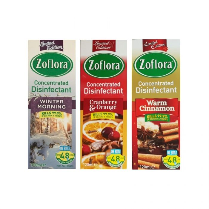 Zoflora Disinfectant Assortment 120Ml (Winter Morning, Cranberry & Orange, Warm Cimmamon) <br> Pack size: 12 x 120ml <br> Product code: 455510