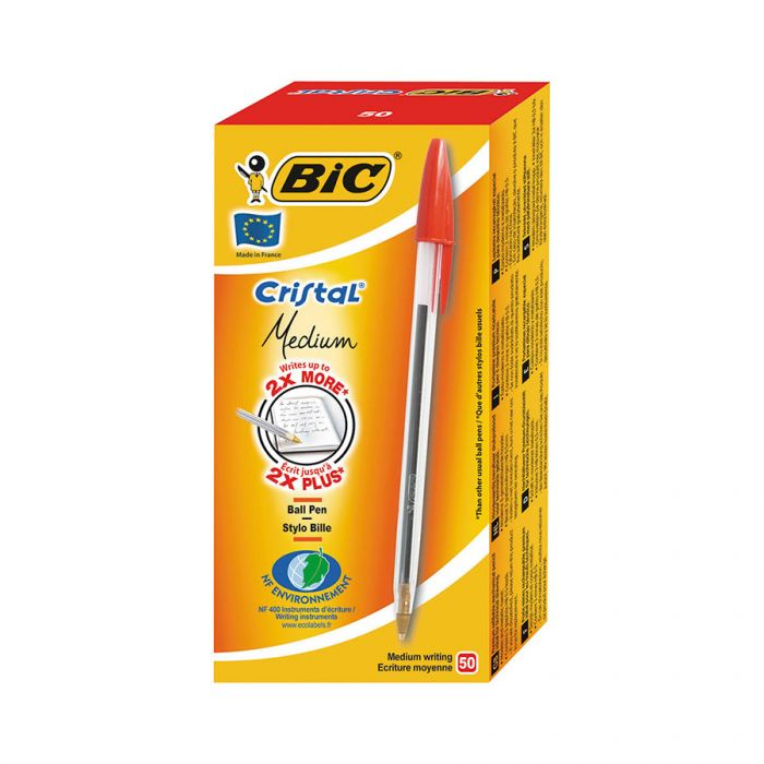 Bic Ballpoint Pens Medium Red 50S <br> Pack size: 1 x 50s <br> Product code: 141010