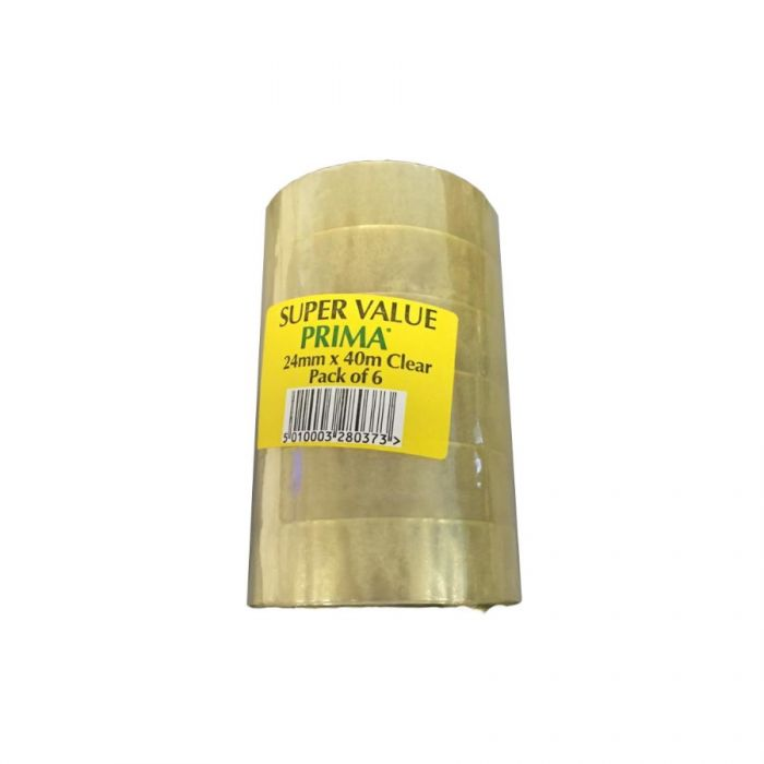 Super Value Prima Clear Adhesive Tape 1 Inch <br> Pack size: 1 x 6 <br> Product code: 144510