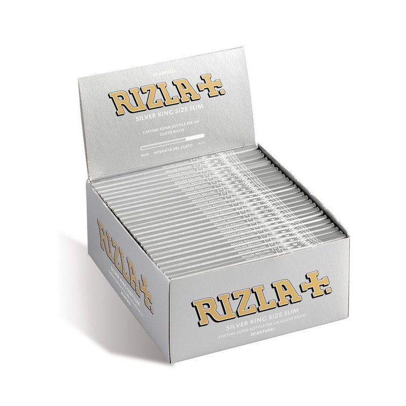 Rizla King Size Slim Silver Rolling Papers <br> Pack Size: 1 x 50 <br> Product code: 146200