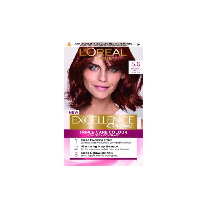 L'Oreal Excellence Crã¨Me Hair Dye No. 5.6 Natural Rich Auburn <br> Pack size: 3 x 1 <br> Product code: 201800
