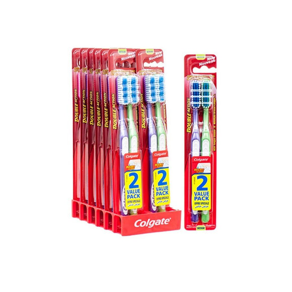 Colgate Double Action Toothbrush Medium (Twin Pack) <br> Pack Size: 12 x 2 <br> Product code: 301068