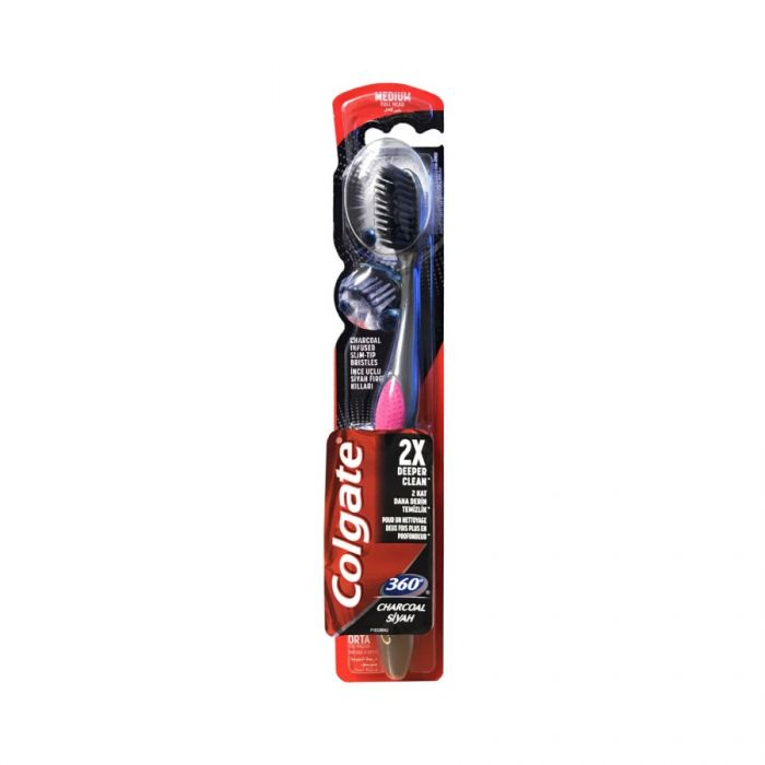 Colgate Charcoal 360 Degree Medium Toothbrush <br> Pack size: 12 x 1 <br> Product code: 301072