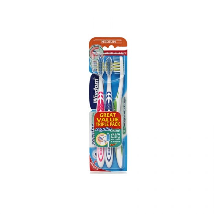 Wisdom Regular Fresh Toothbrush Medium (Triple Pack) <br> Pack size: 6 x 3 <br> Product code: 304200