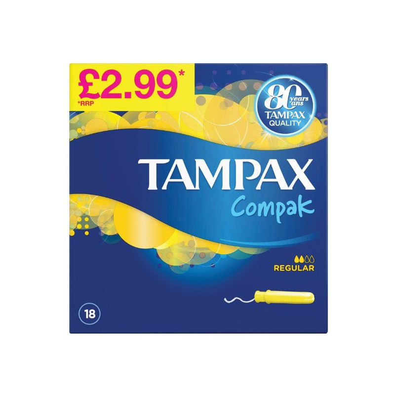 Tampax Compak Regular 18S (Pm £2.99) <br> Pack Size: 6 x 18s <br> Product code: 346503