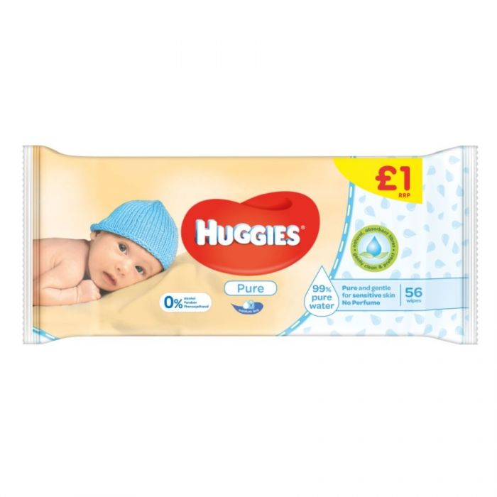 Huggies Pure Wipes 56S (Pm £1.00)  <br> Pack size: 6 x 56s <br> Product code: 382718