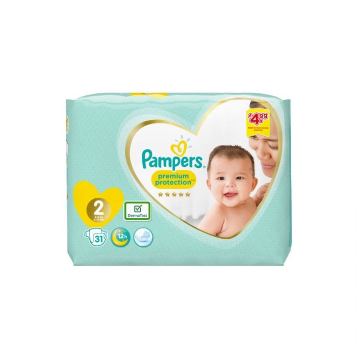 Pampers Premium Protection Size 2 31S (Pm £4.99) <br> Pack size: 4 x 31 <br> Product code: 382821