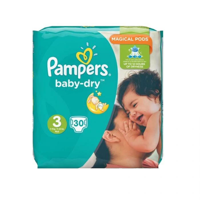 Pampers Baby Dry Midi Size 3 30S <br> Pack size: 4 x 30 <br> Product code: 382831