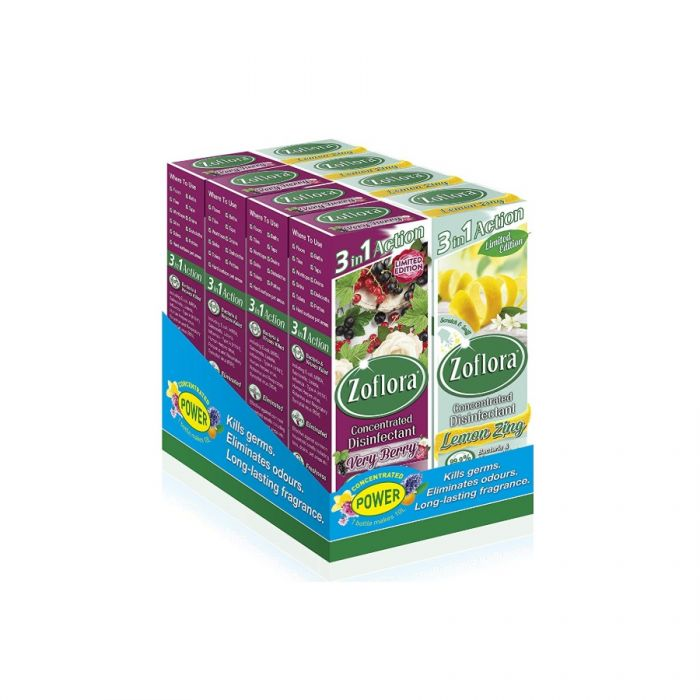 Zoflora Disinfectant Assortment 250Ml (Lemon Zing & Very Berry) <br> Pack size: 8 x 250ml <br> Product code: 455508