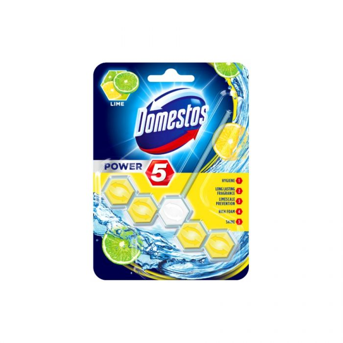 Domestos Power 5 Rim Block Lime <br> Pack size: 9 x 1 <br> Product code: 523062