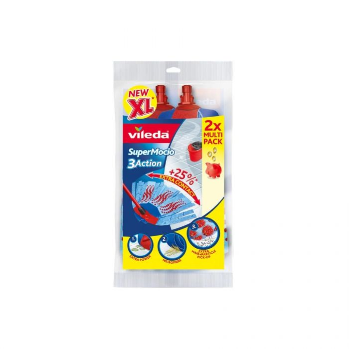 Vileda Supermocio 3 Action Xl Refill (Twinpack)  <br> Pack size: 1 x 1 <br> Product code: 544362