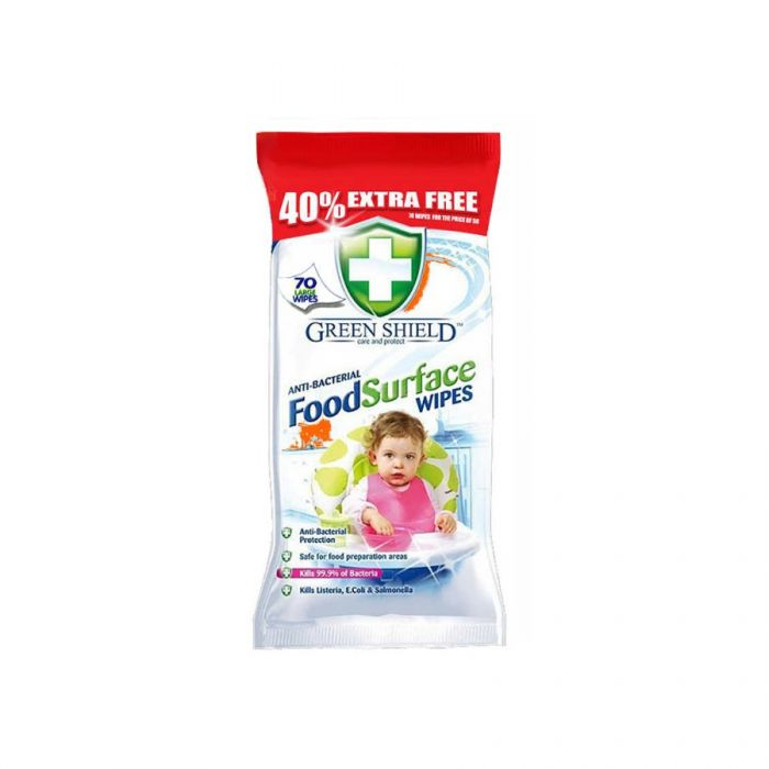 Green Shield Food Surface Wipes 70S <br> Pack size: 12 x 70 <br> Product code: 558423