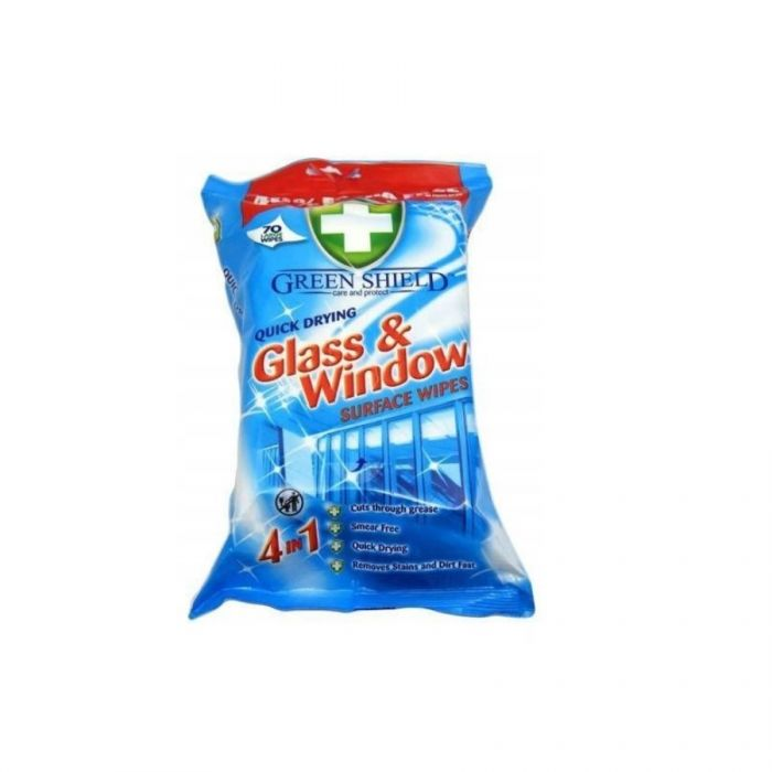 Green Shield Glass & Window Wipes 70S <br> Pack size: 12 x 70 <br> Product code: 558425