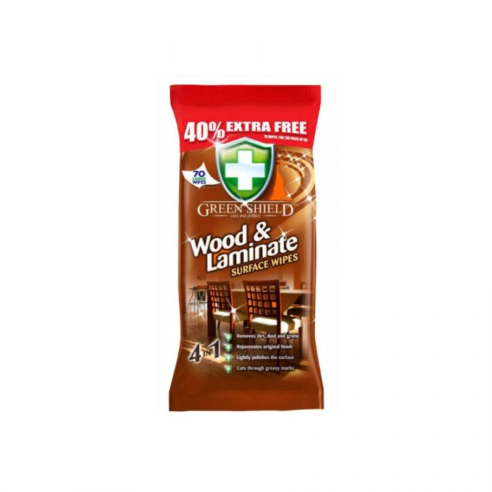 Green Shield Wood & Laminate Surface Wipes 70S <br> Pack size: 12 x 70 <br> Product code: 558427