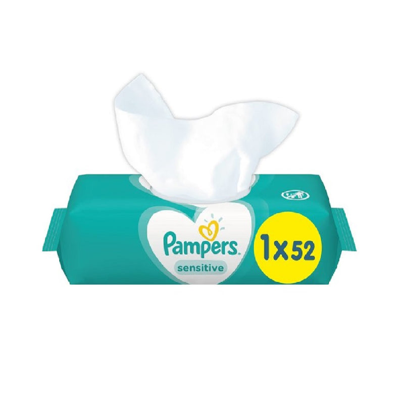 Pampers Wipes Sensitive 52'S <br> Pack size: 12 x 52s <br> Product code: 398703