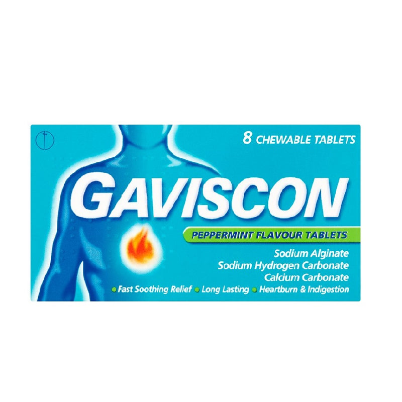 Gaviscon Tablets Peppermint 8s <br> Pack size: 12 x 8s <br> Product code: 124490