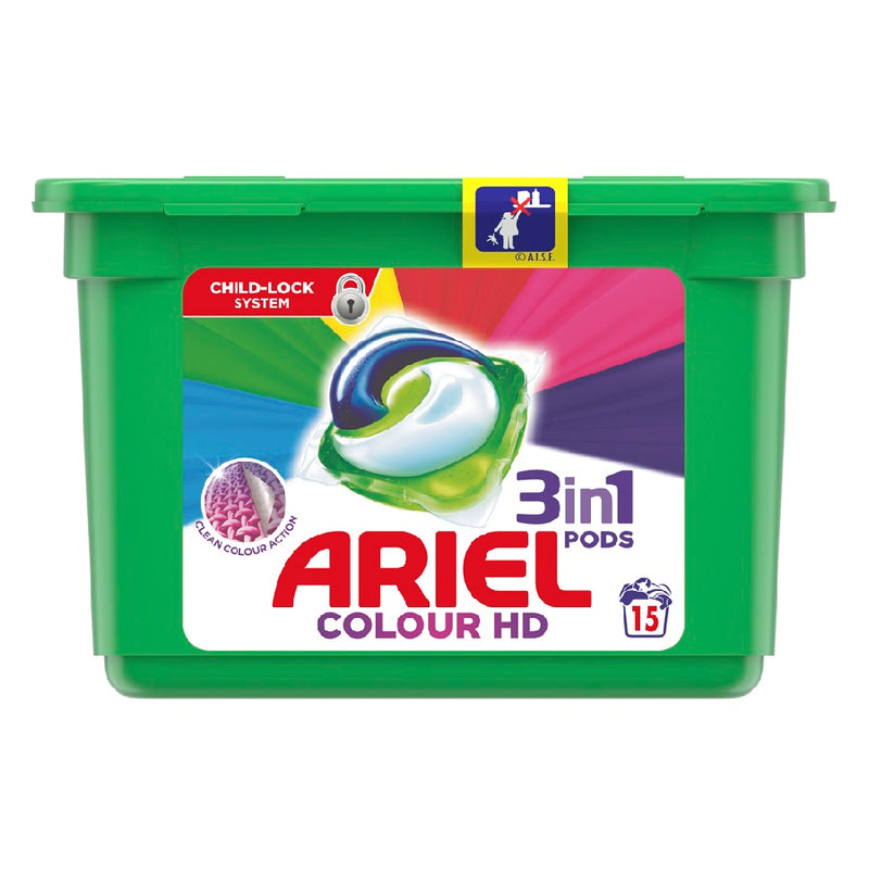Ariel 3in1 Pods Colour 15s <br> Pack size: 3 x 15s <br> Product code: 481456