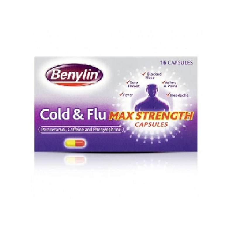 Benylin Cold & Flu Max Caps 16s  <br> Pack size: 6 x 16s  <br> Product code: 121213