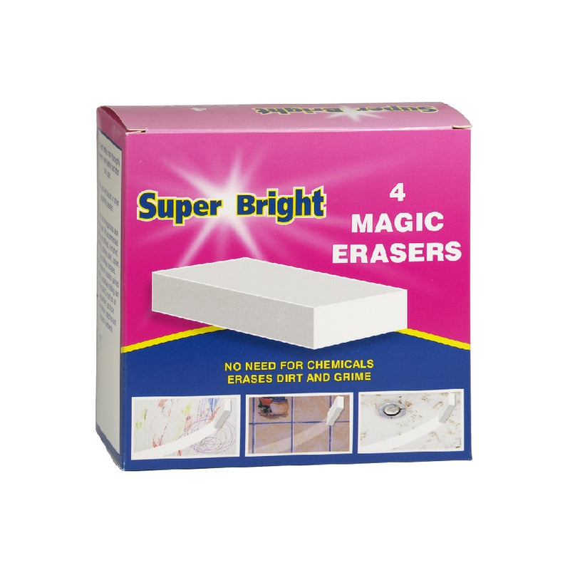 Superbright Magic Erasers 4'S <br> Pack size: 10 x 4s <br> Product code: 493515