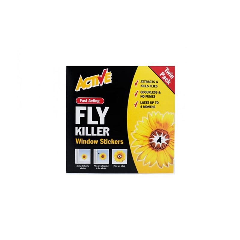 Active Fly Killer Window Stickers 2s <br> Pack size: 12 x 2s <br> Product code: 364502