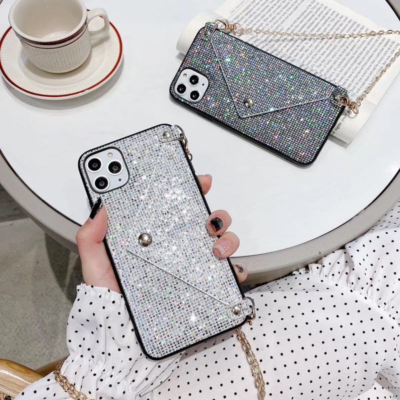 Diamond Chain Wallet Case for iPhone Models