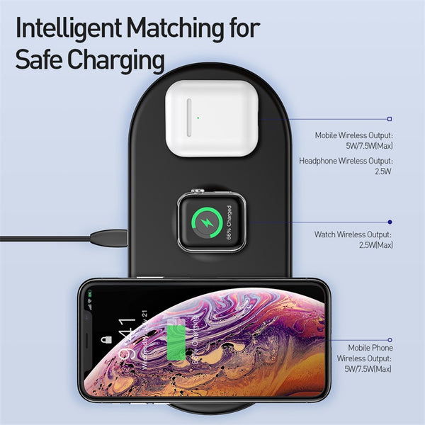 3 in 1 Qi Wireless Charger For Airpods Apple Watch, iPhone Models