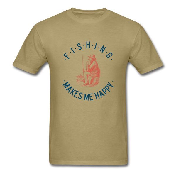 Fishing Makes Me Happy Men's T-Shirt - khaki