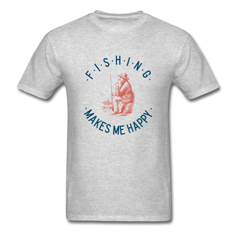 Fishing Makes Me Happy Men's T-Shirt - heather gray