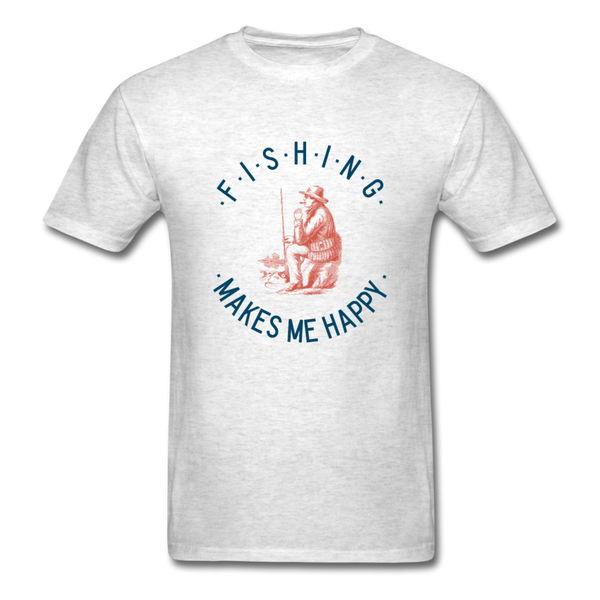 Fishing Makes Me Happy Men's T-Shirt - light heather gray