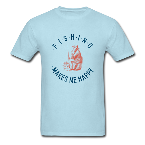 Fishing Makes Me Happy Men's T-Shirt - powder blue