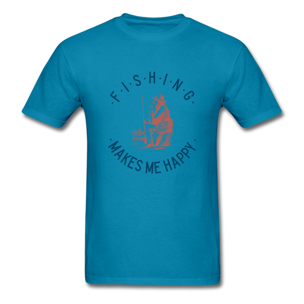 Fishing Makes Me Happy Men's T-Shirt - turquoise