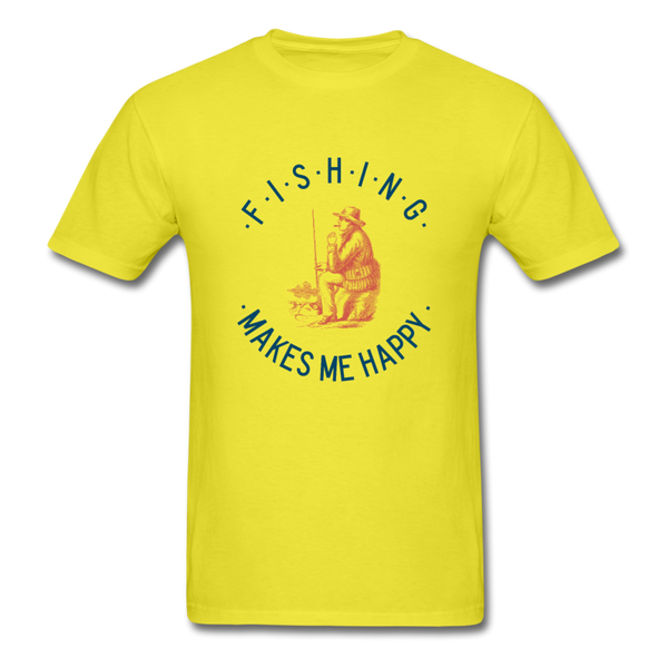Fishing Makes Me Happy Men's T-Shirt - yellow