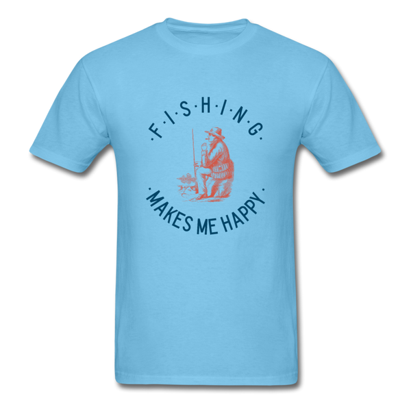 Fishing Makes Me Happy Men's T-Shirt - aquatic blue