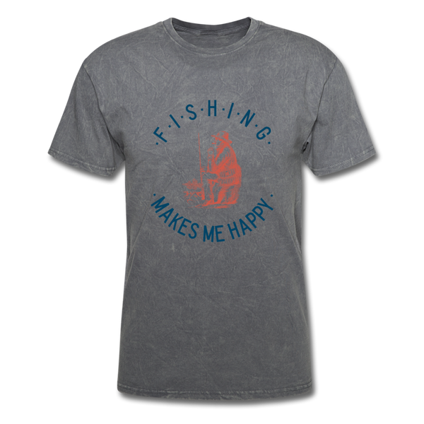 Fishing Makes Me Happy Men's T-Shirt - mineral charcoal gray