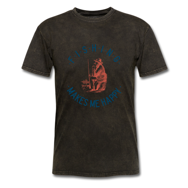 Fishing Makes Me Happy Men's T-Shirt - mineral black