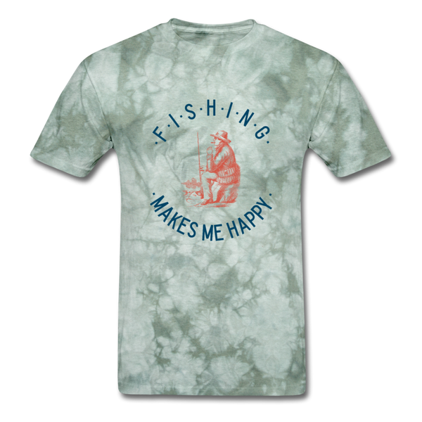 Fishing Makes Me Happy Men's T-Shirt - military green tie dye