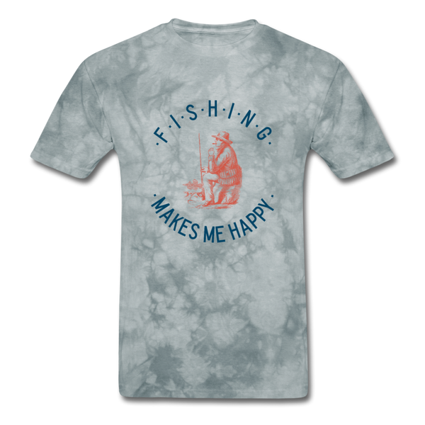 Fishing Makes Me Happy Men's T-Shirt - grey tie dye