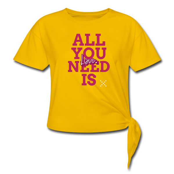 All you need is love Women's Knotted T-Shirt - sun yellow